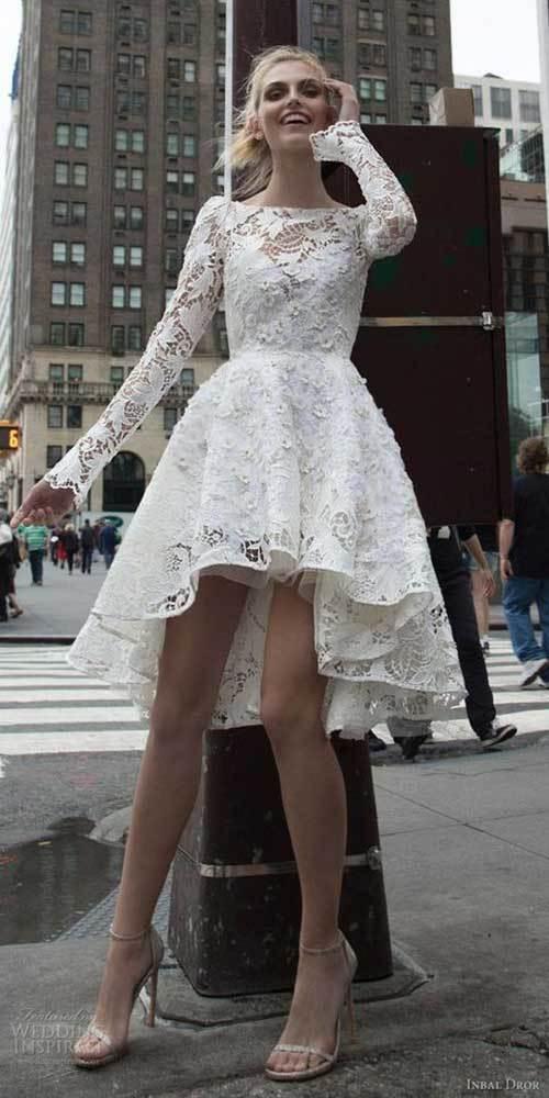 Önü Kısa Arkası Uzun Sade Nikah Elbisesi