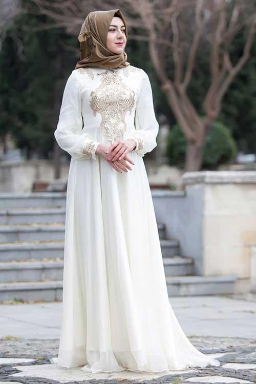 Sade İşlemeli Nikah Elbisesi