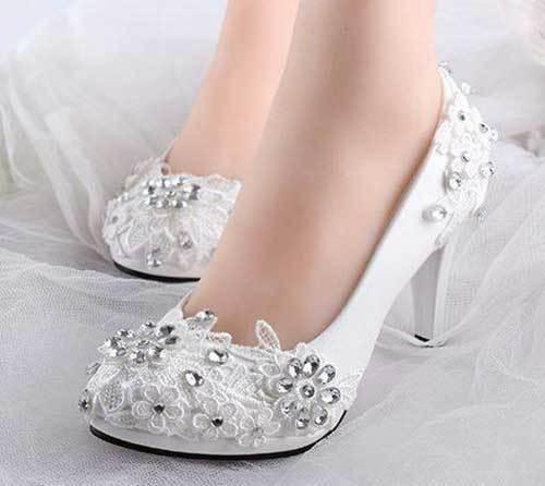 Gelinlik Kısa Topuklu Ayakkabı Modelleri-17