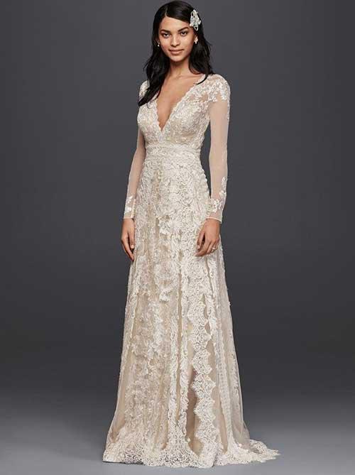 Uzun Kollu Nikah Elbisesi Modelleri-20