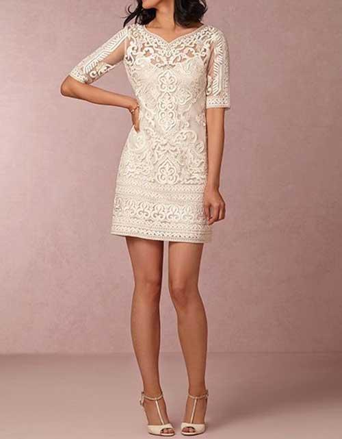 Beyaz Yarım Kollu Nikah Elbisesi Modelleri-7