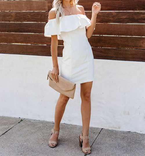 Omuzları Açık Beyaz Nikah Elbisesi Modelleri-9