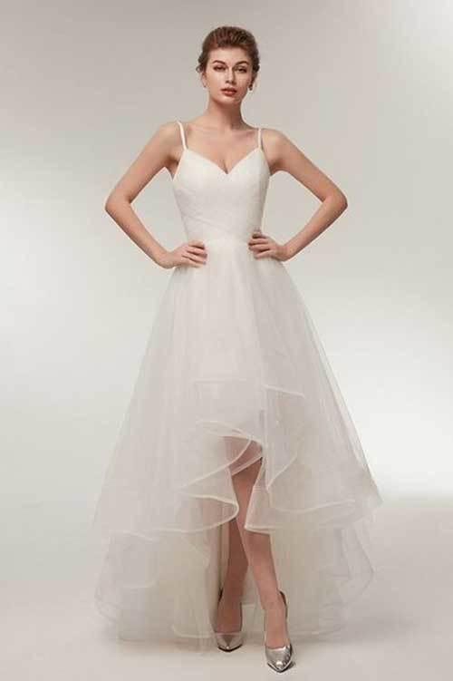 Beyaz Önü Kısa Nikah Elbisesi-11