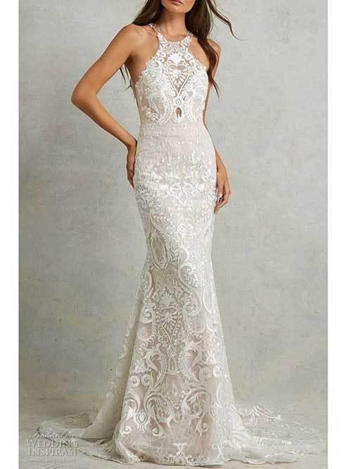 Beyaz Dantelli Nikah Elbisesi-13