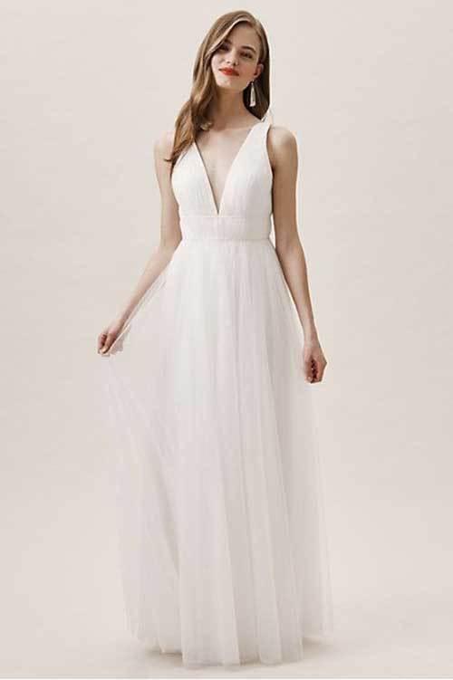 Beyaz V Yakalı Nikah Elbisesi-14