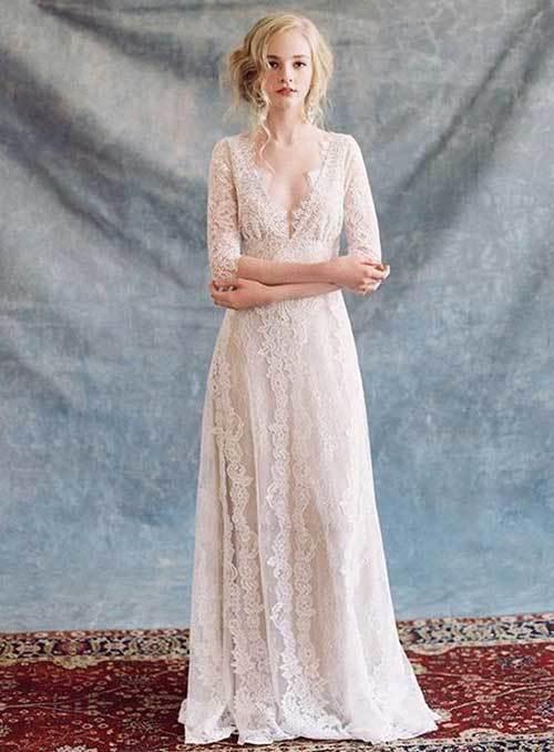 Beyaz Yarım Kollu Nikah Elbisesi-15