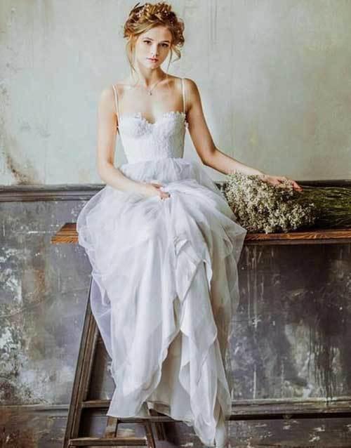 Askılı Beyaz Nikah Elbisesi-6