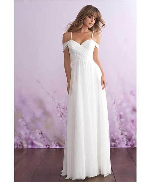 Zarif Beyaz Nikah Elbisesi-7