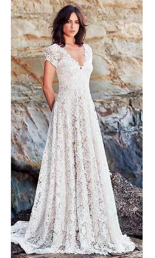 Beyaz V Yaka Nikah Elbisesi-8