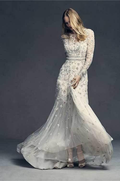 Uzun Kollu Beyaz Nikah Elbisesi-9
