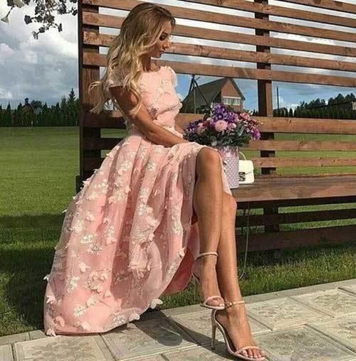 Pembe Abiye Yazlık Elbise Modelleri-10