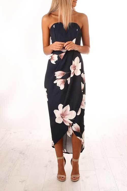 Çiçek Desenli Abiye Yazlık Elbise Modelleri-6
