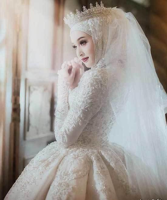 Kabarık Prenses Gelinlik Modelleri Tesettür-7